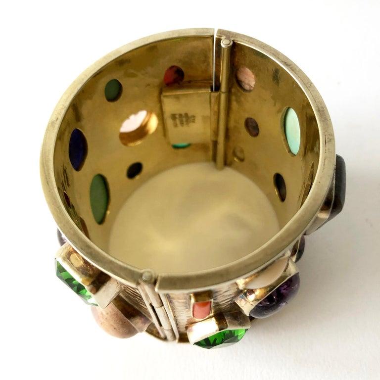 Women's Celia Harms Sterling Silver Vermeil Semi Precious Gemstone Hinged Cuff Bracelet For Sale