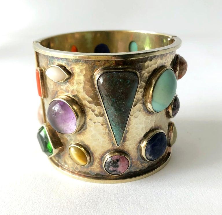 Celia Harms Sterling Silver Vermeil Semi Precious Gemstone Hinged Cuff Bracelet For Sale 1