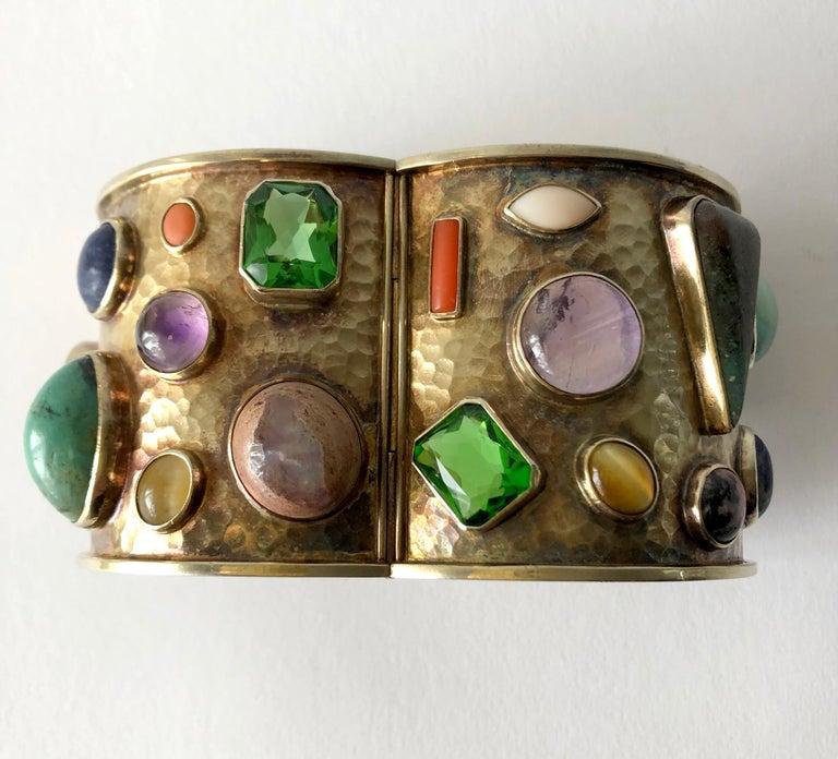 Celia Harms Sterling Silver Vermeil Semi Precious Gemstone Hinged Cuff Bracelet For Sale 2
