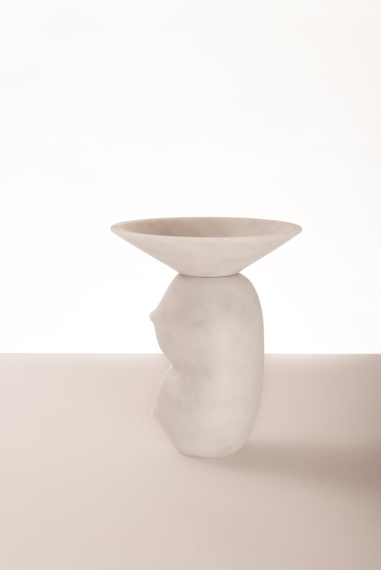 """Celia - Duo-Marble Contemporary vase - Valentina Cameranesi Materials: White carrara marble (Also available in Noir Antique + Portugal Pink) Dimensions: 31 x 24 x 24 cm  The """"Avalon"""" series consists of 3 sculptural vases, made of White"""