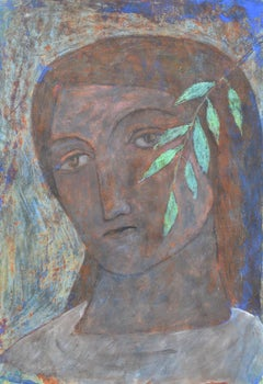 """""""Head With A Leaf""""  Contemporary Figurative Painting"""