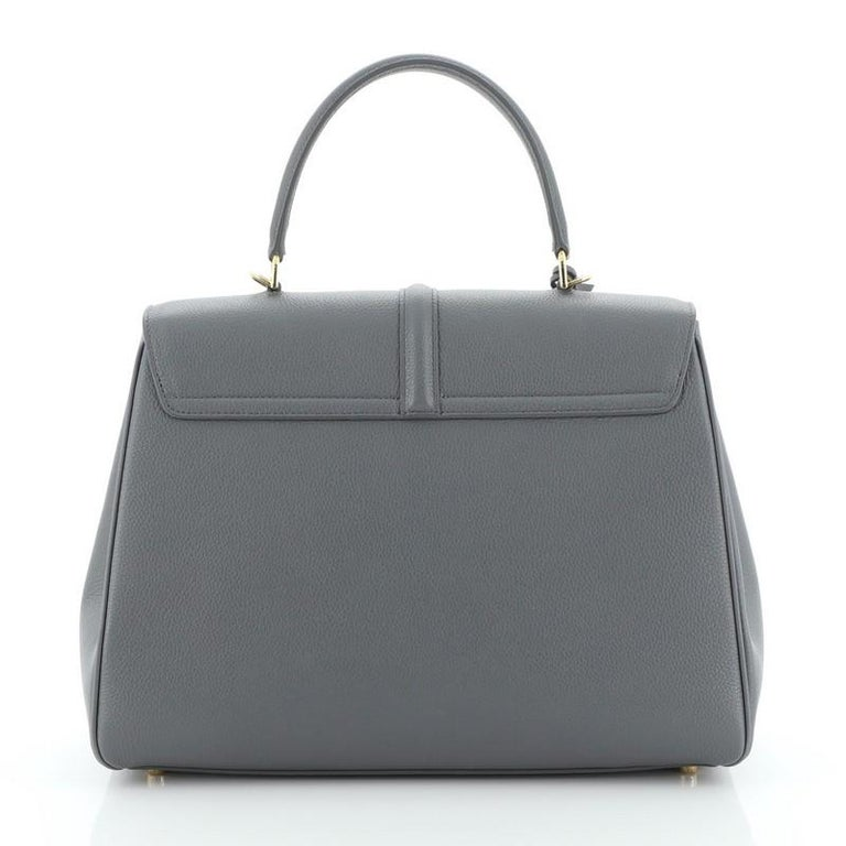 Celine 16 Top Handle Bag Grained Calfskin Medium In Good Condition For Sale In New York, NY