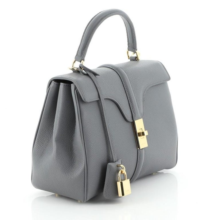 Gray Celine 16 Top Handle Bag Grained Calfskin Small