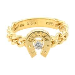 Celine 18 Karat Yellow Gold Diamond Ring 0.09 Carat