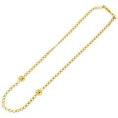 Celine 18 Karat Yellow Gold Logo Chain Necklace