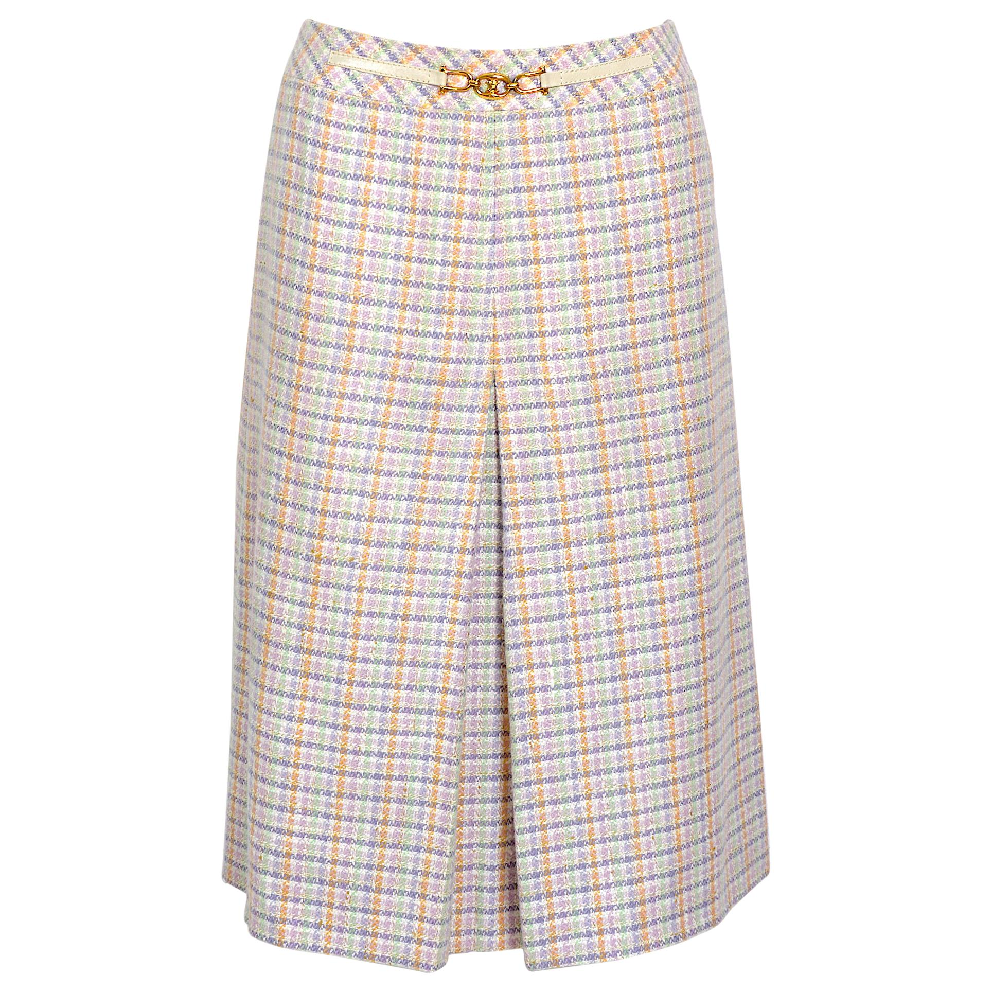 Celine 1970s classic A-Line style pleated check pattern wool skirt