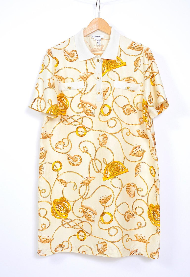 Celine 1980s vintage cord and logo print on creme silk dress In Good Condition For Sale In Antwerp, BE