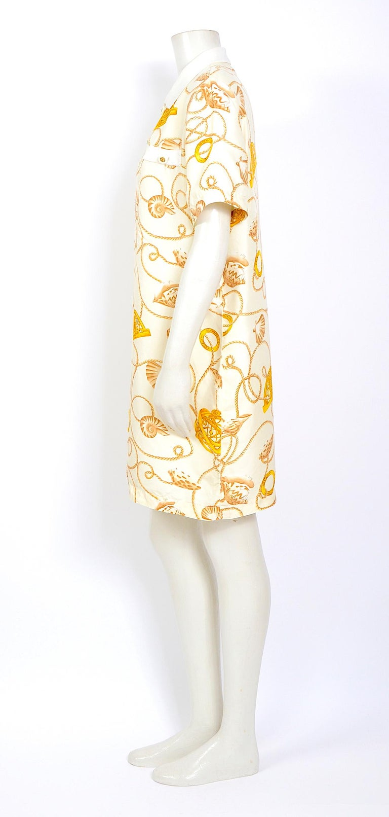 Women's Celine 1980s vintage cord and logo print on creme silk dress For Sale