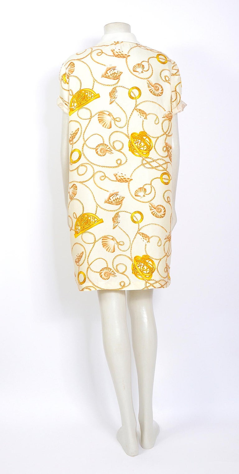 Celine 1980s vintage cord and logo print on creme silk dress For Sale 2