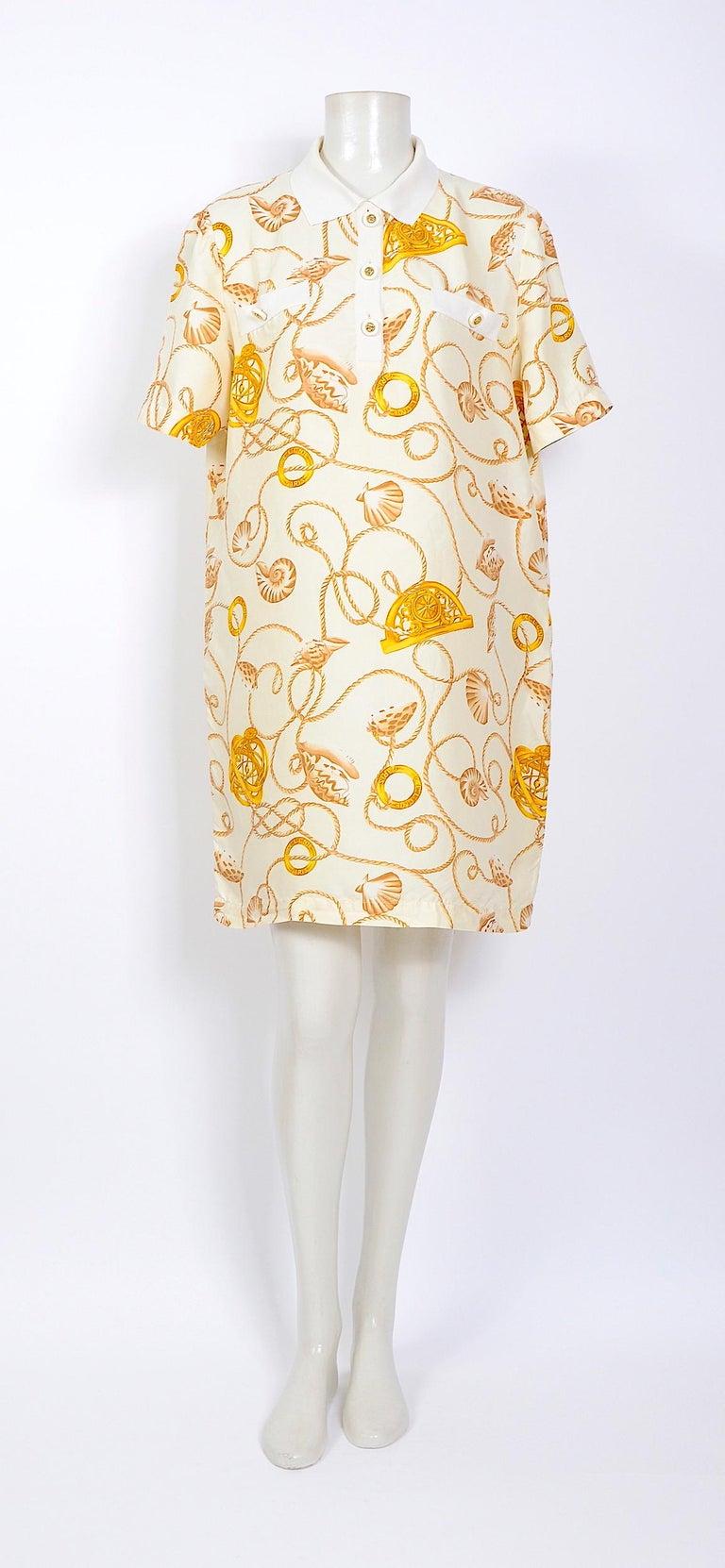 Celine 1980s vintage cord and logo print on creme silk dress For Sale 3