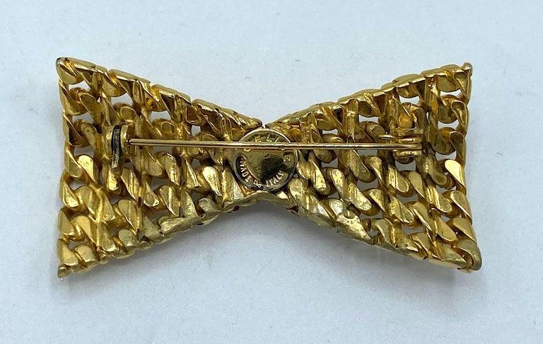 Celine 1990s Gold Bow Brooch For Sale 3