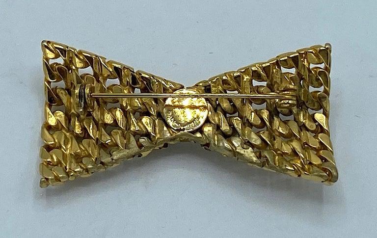 Celine 1990s Gold Bow Brooch For Sale 4