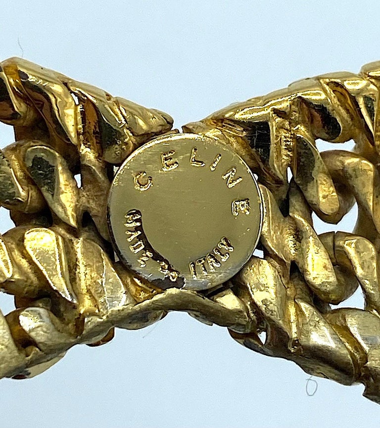 Celine 1990s Gold Bow Brooch For Sale 5