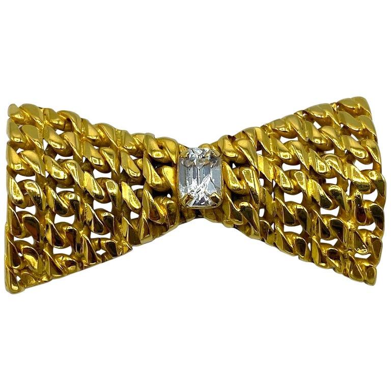 Celine 1990s Gold Bow Brooch For Sale
