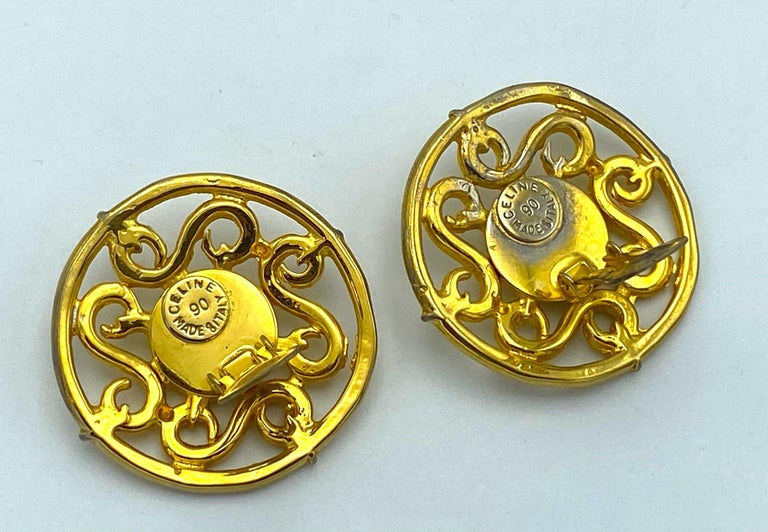 Celine 1990s Large Round Gold Openwork Button Earrings For Sale 1