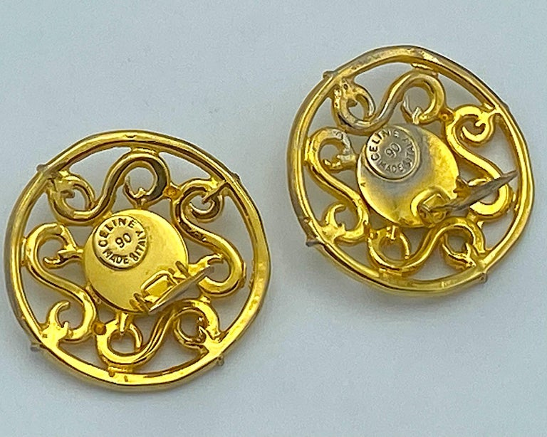 Celine 1990s Large Round Gold Openwork Button Earrings For Sale 3