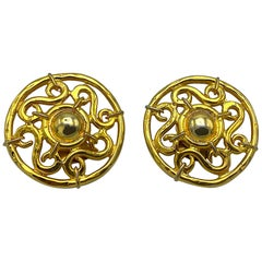Celine 1990s Large Round Gold Openwork Button Earrings