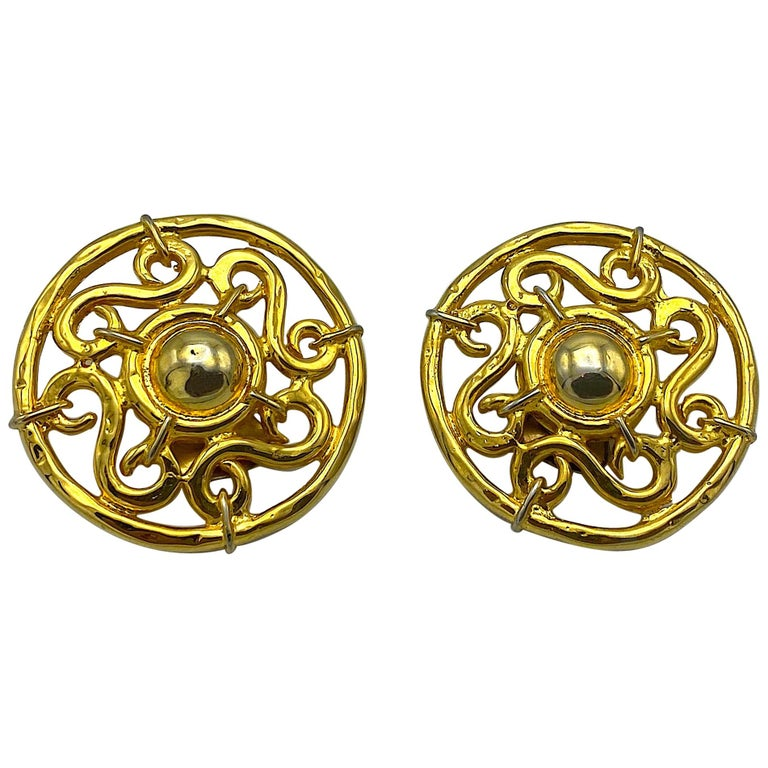 Celine 1990s Large Round Gold Openwork Button Earrings For Sale