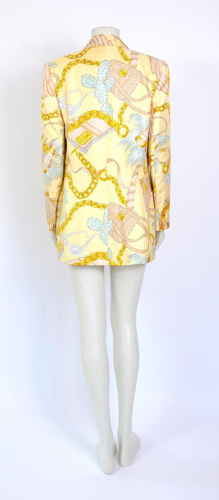 Celine 1990s vintage signed spectacular print silk jacket. For Sale 1