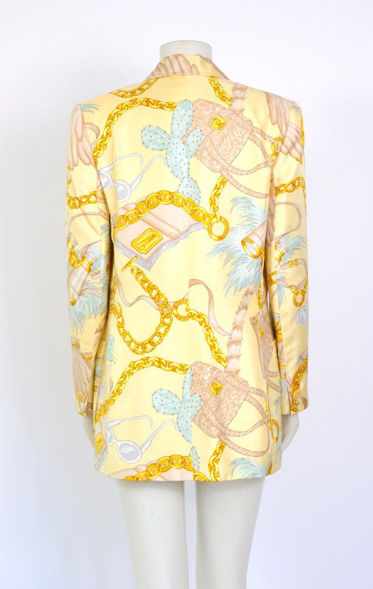 Celine 1990s vintage signed spectacular print silk jacket. For Sale 2