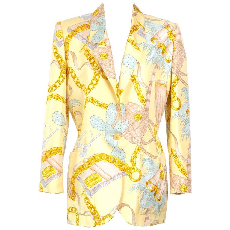Celine 1990s vintage signed spectacular print silk jacket. For Sale