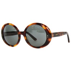 Celine 2019 Brown Tortoise Round-Frame Acetate Sunglasses