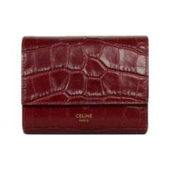 Celine 2019 Burgundy Embossed Croc Trifold Compact Wallet rt. $590