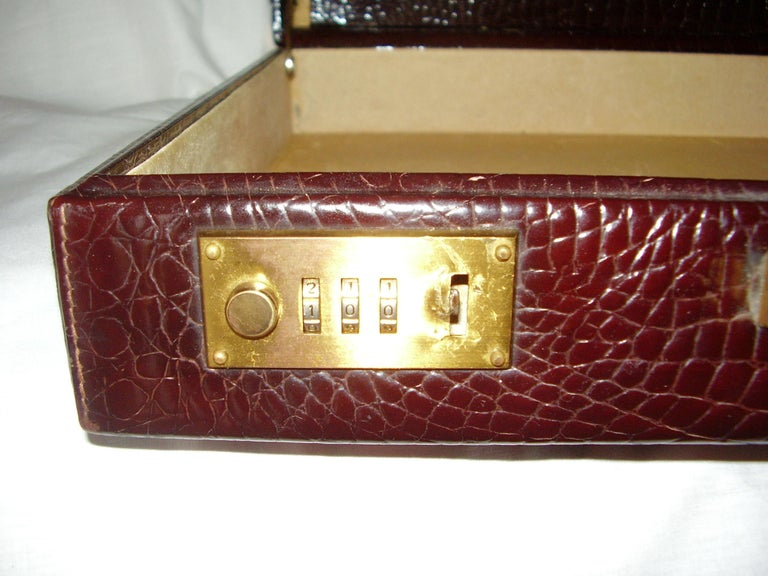 Red CÉLINE 24-hour Briefcase in Wild Burgundy Brown Crocodile Leather  For Sale
