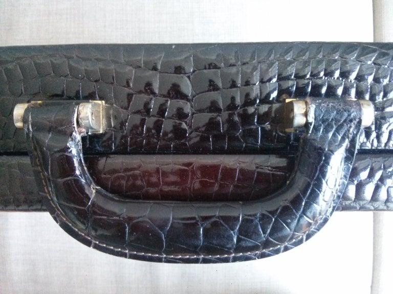 Women's or Men's CÉLINE 24-hour Briefcase in Wild Burgundy Brown Crocodile Leather  For Sale