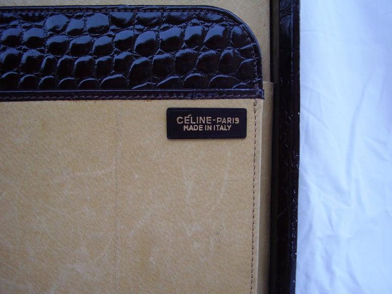 CÉLINE 24-hour Briefcase in Wild Burgundy Brown Crocodile Leather  For Sale 1