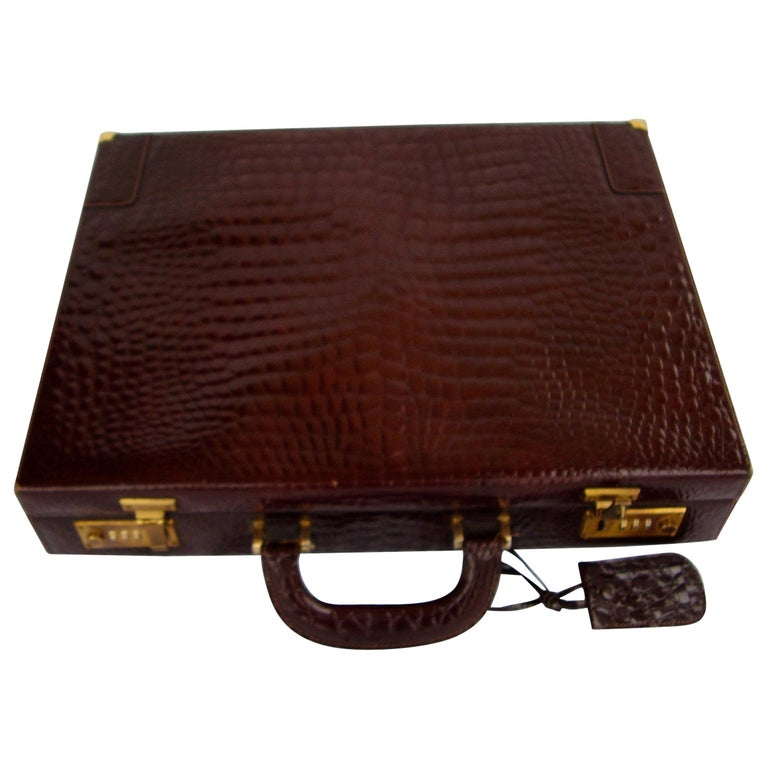 CÉLINE 24-hour Briefcase in Wild Burgundy Brown Crocodile Leather  For Sale