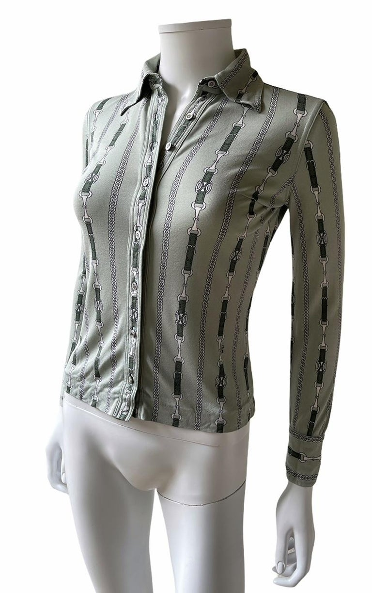 Celine 70's Mint Green Silk Shirt with Triomphe Logo Size XS  In Good Condition For Sale In Paris, FR