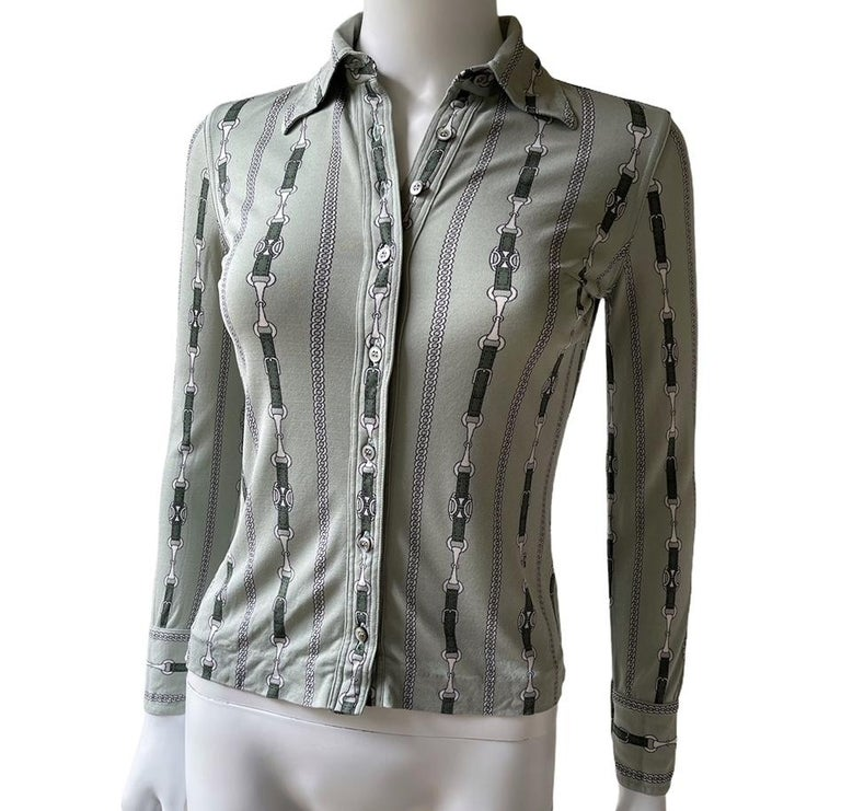 Women's Celine 70's Mint Green Silk Shirt with Triomphe Logo Size XS  For Sale