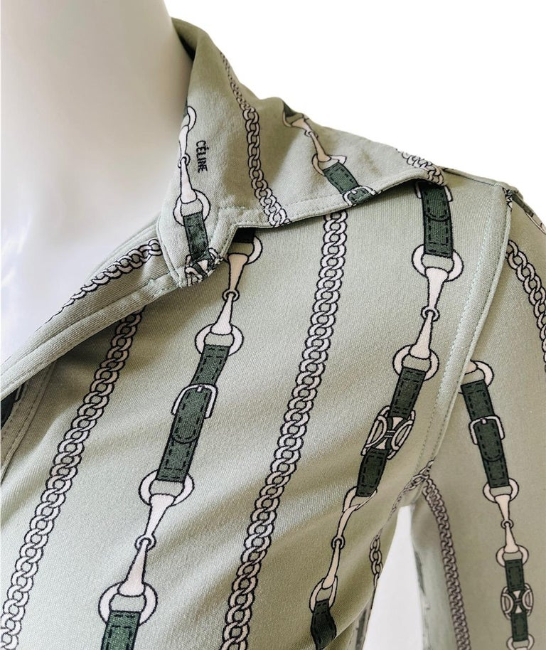 Celine 70's Mint Green Silk Shirt with Triomphe Logo Size XS  For Sale 4