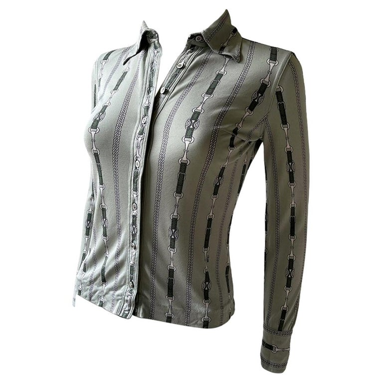 Celine 70's Mint Green Silk Shirt with Triomphe Logo Size XS  For Sale