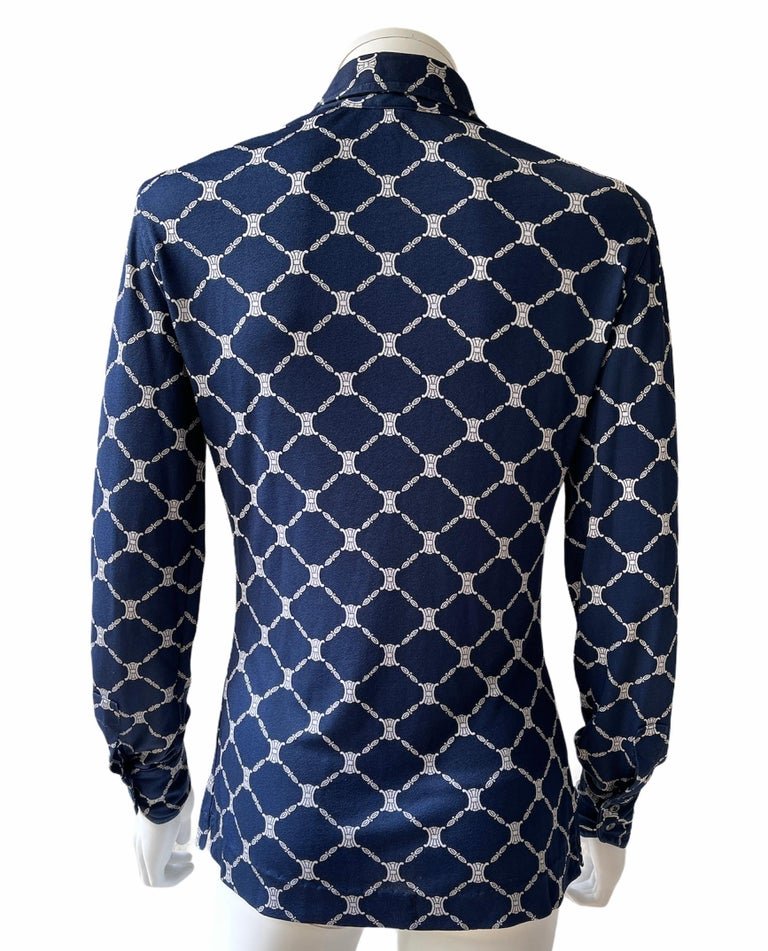 Black Celine 70's Silk Blue Shirt Triomphe Logo Size S/M