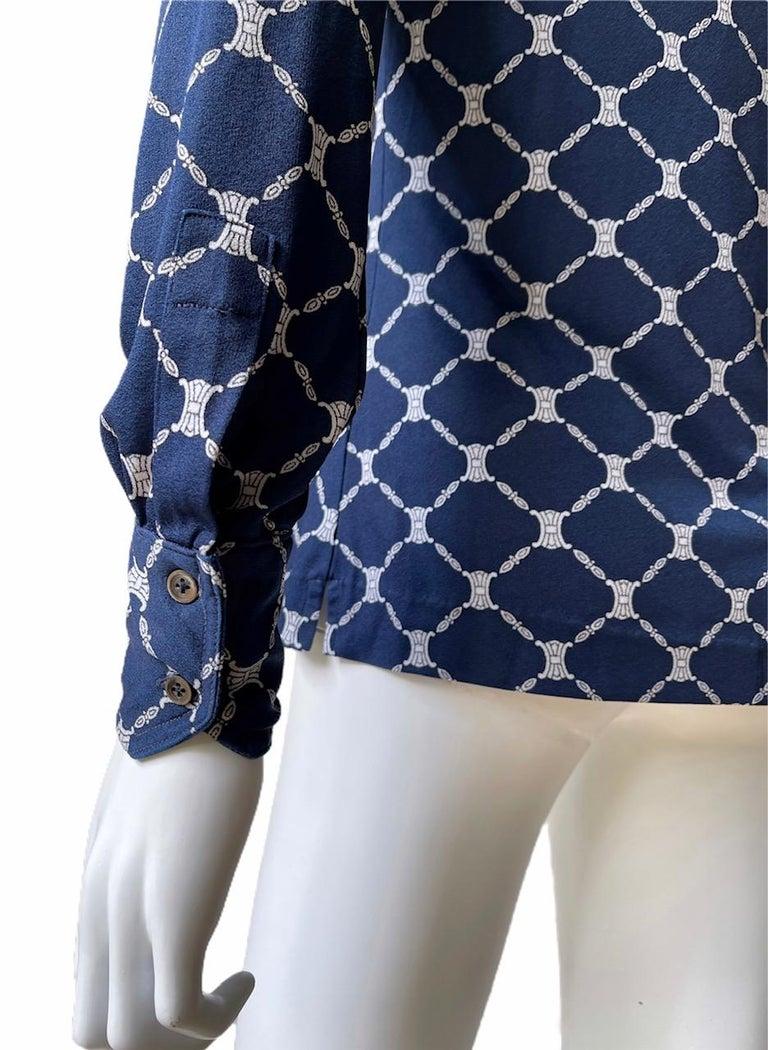 Celine 70's Silk Blue Shirt Triomphe Logo Size S/M 1
