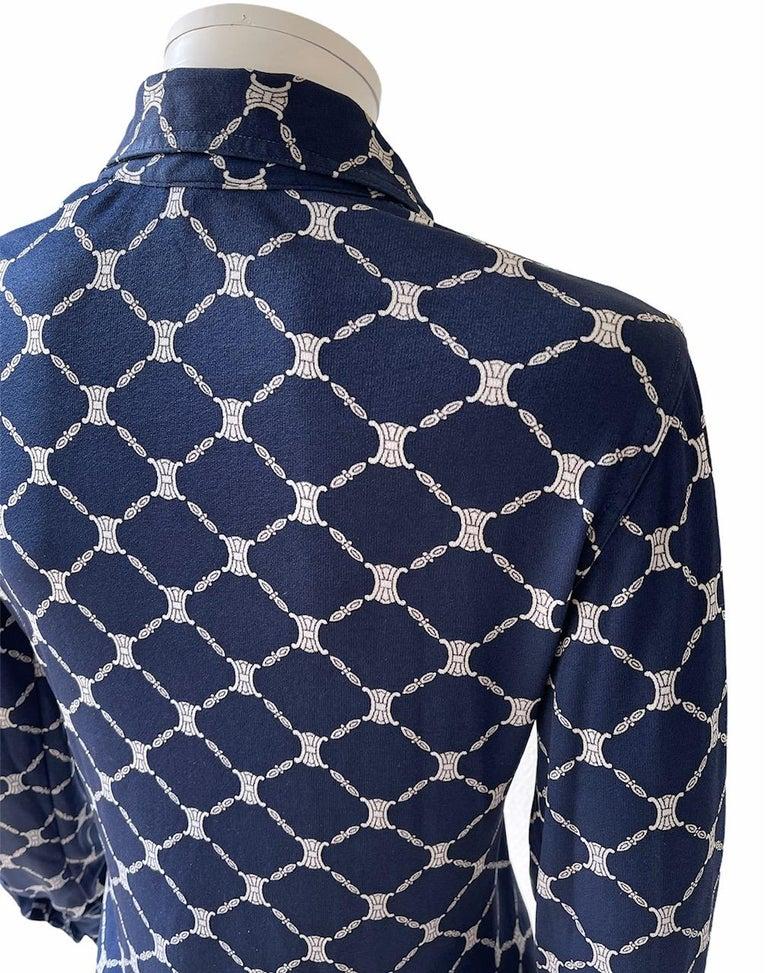 Celine 70's Silk Blue Shirt Triomphe Logo Size S/M 2