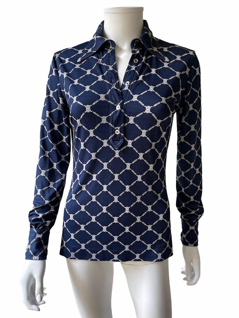 Celine 70's Silk Blue Shirt Triomphe Logo Size S/M 3