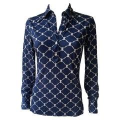 Celine 70's Silk Blue Shirt Triomphe Logo Size S/M