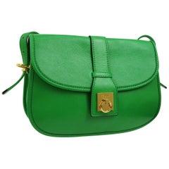 Celine Apple Green Leather Gold Toggle Saddle Shoulder Crossbody Flap Bag