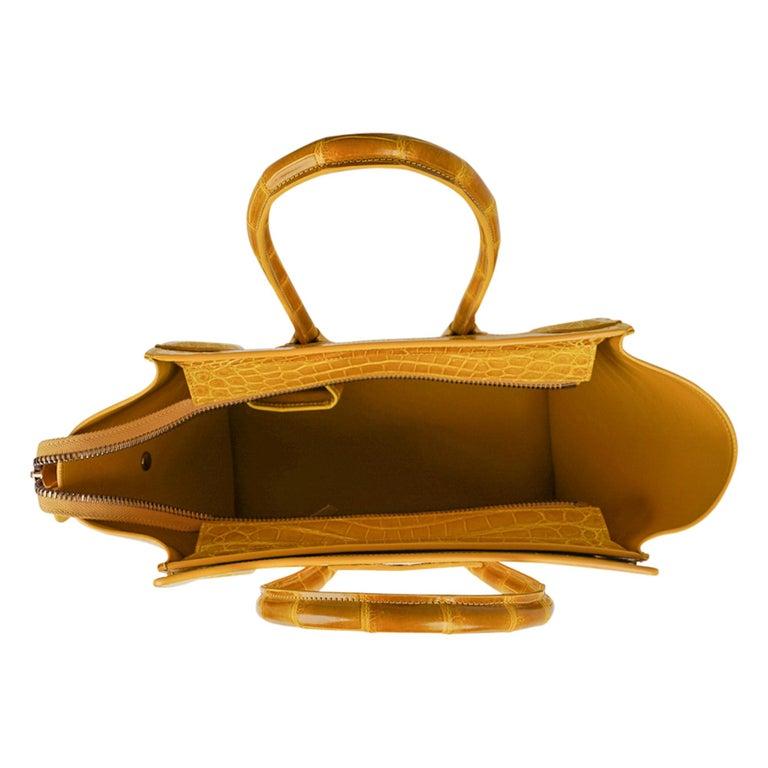 Celine Bag Micro Luggage Yellow Crocodile Tote New w/Box For Sale 6