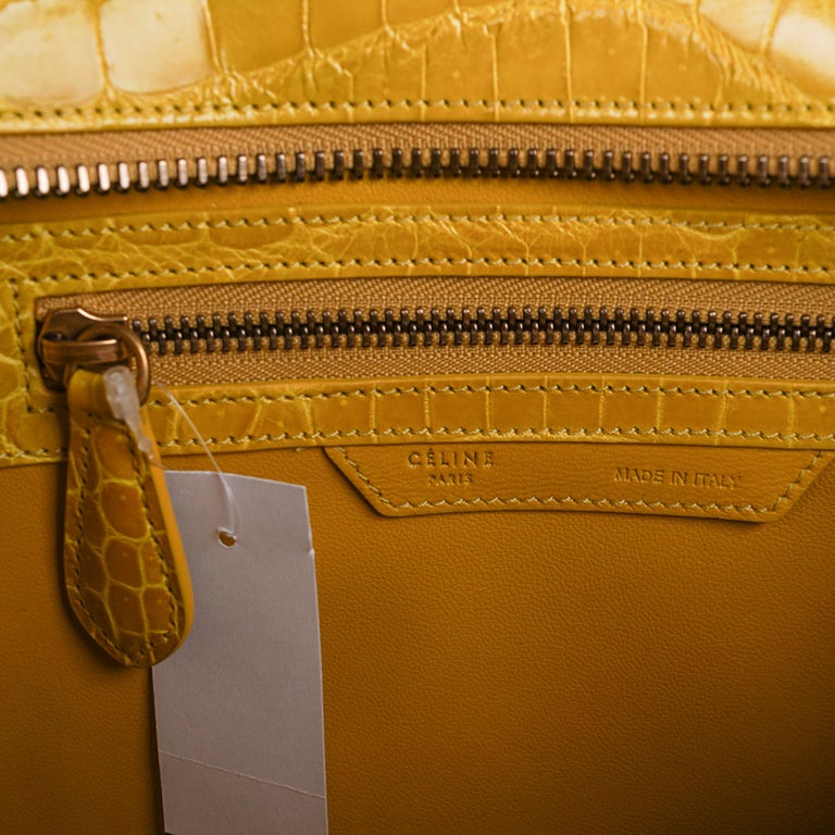Celine Bag Micro Luggage Yellow Crocodile Tote New w/Box For Sale 7