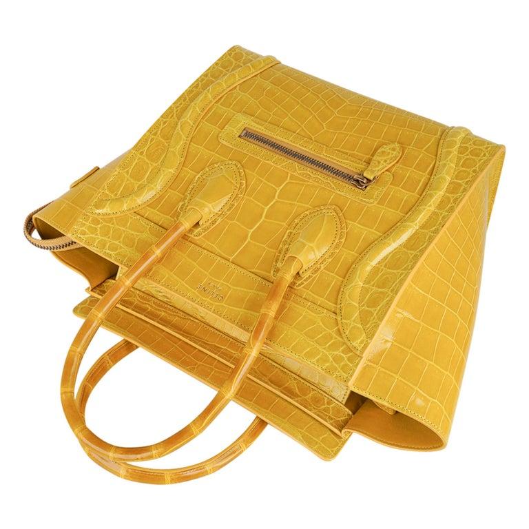 Celine Bag Micro Luggage Yellow Crocodile Tote New w/Box In New Condition For Sale In Miami, FL