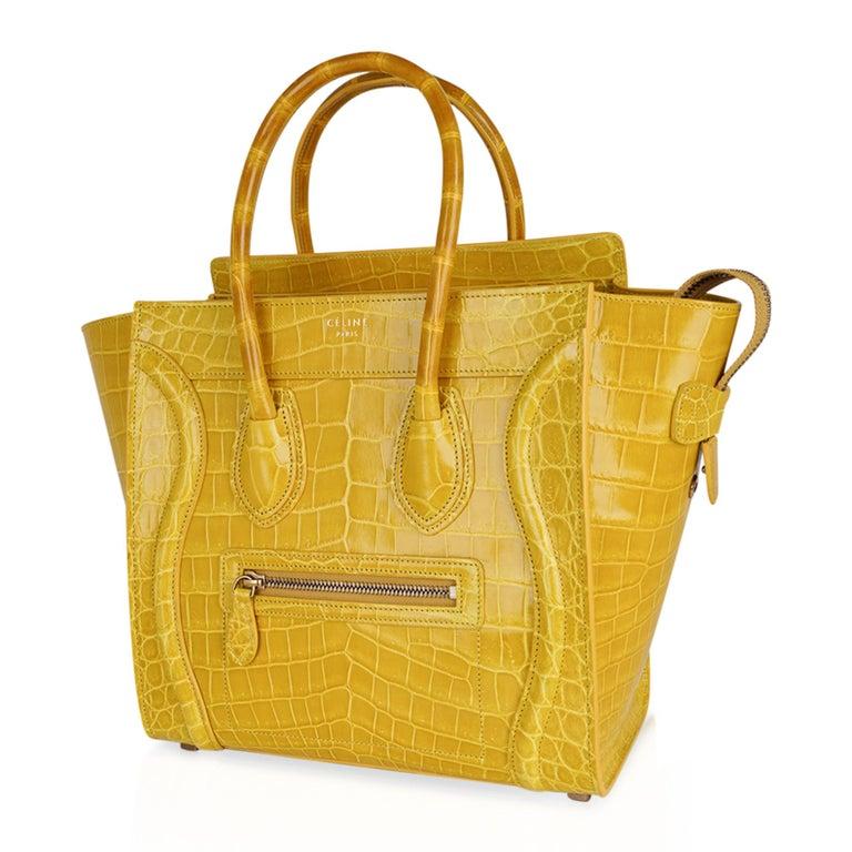 Women's Celine Bag Micro Luggage Yellow Crocodile Tote New w/Box For Sale