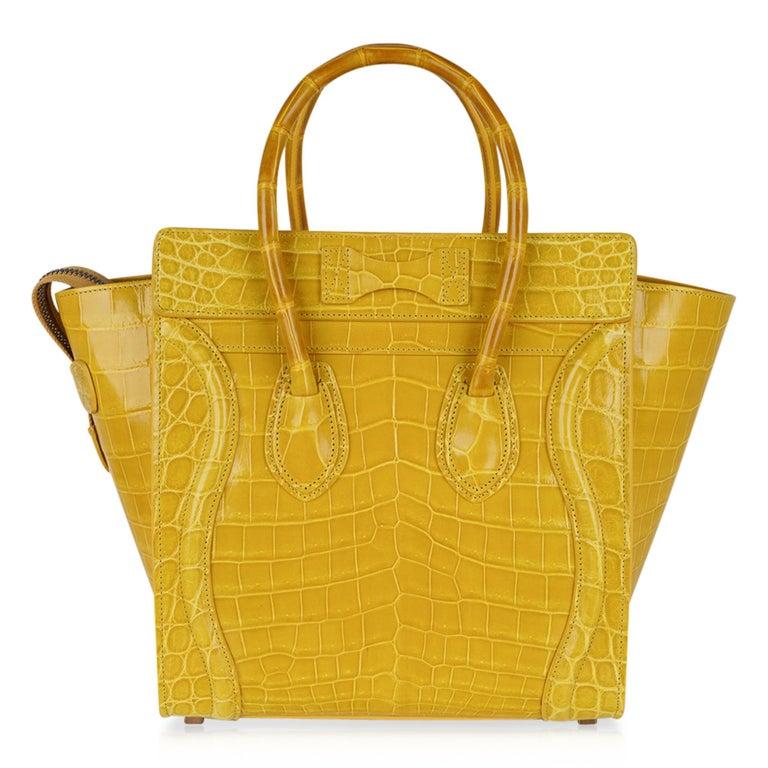 Celine Bag Micro Luggage Yellow Crocodile Tote New w/Box For Sale 1