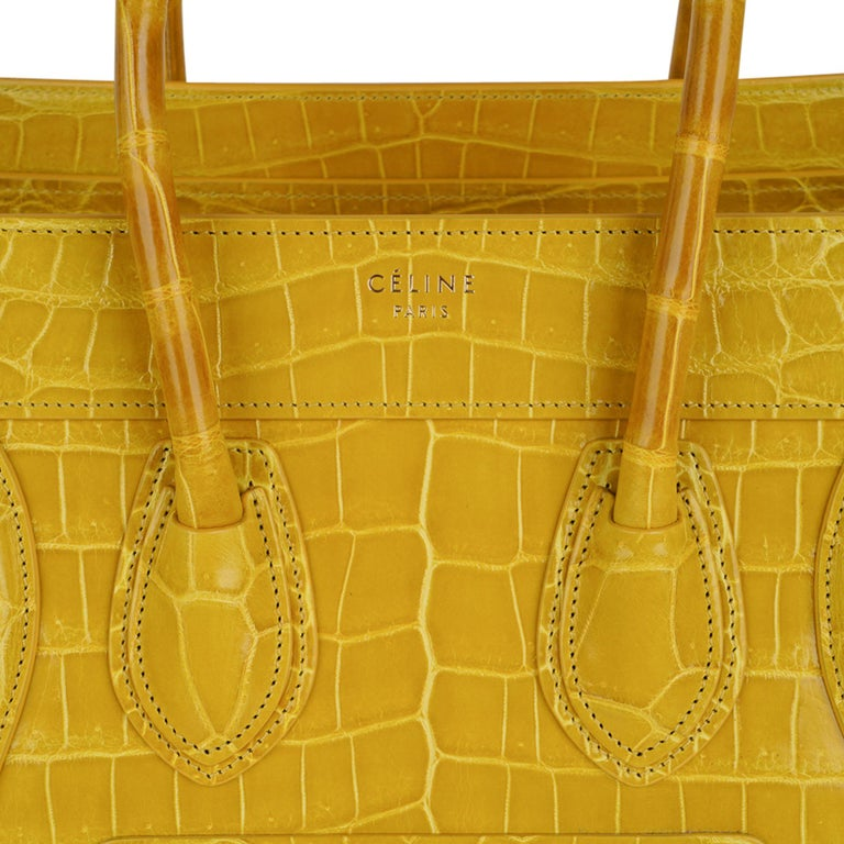 Celine Bag Micro Luggage Yellow Crocodile Tote New w/Box For Sale 2