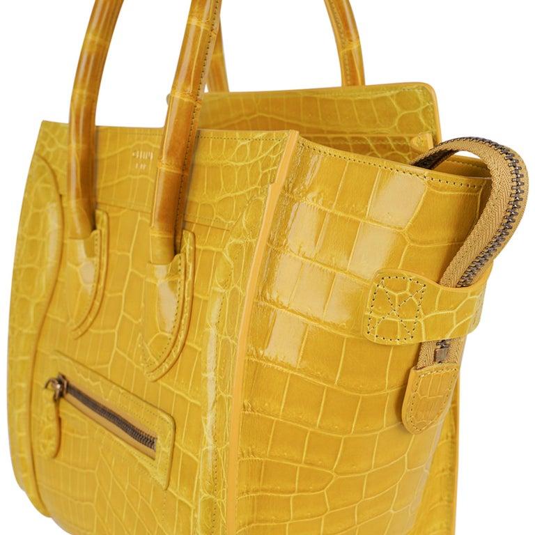 Celine Bag Micro Luggage Yellow Crocodile Tote New w/Box For Sale 3