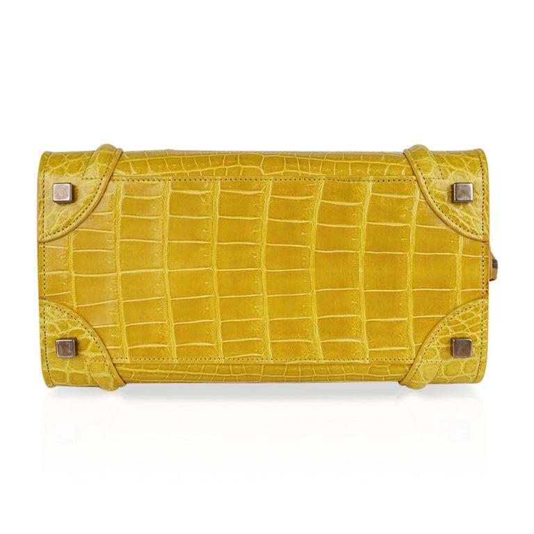 Celine Bag Micro Luggage Yellow Crocodile Tote New w/Box For Sale 4
