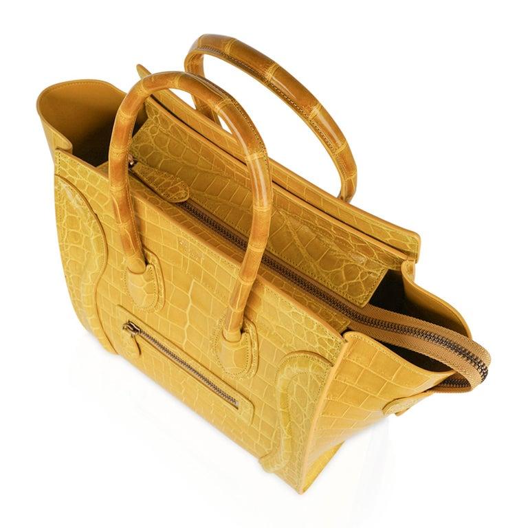 Celine Bag Micro Luggage Yellow Crocodile Tote New w/Box For Sale 5